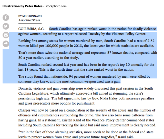 South Carolina leads the way for men killing women - 2013