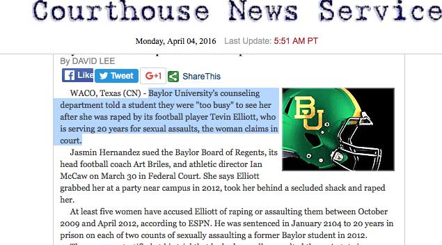 Baylor - rape - Football player