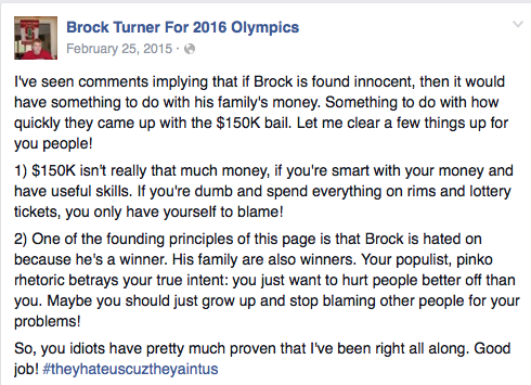 Brock Turner - Bail is no problem