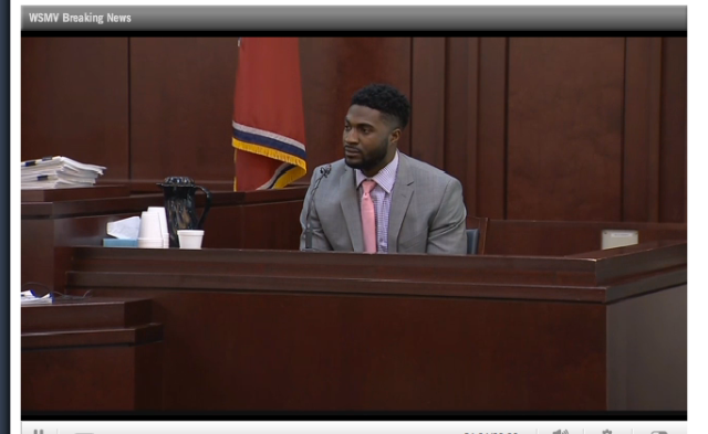 Cory Batey on the stand - just after testifying being suspended from Vanderbilt team