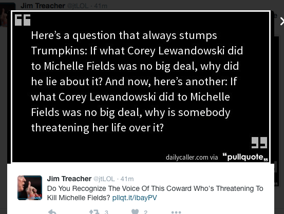Jim Treacher asks - Michelle Fields