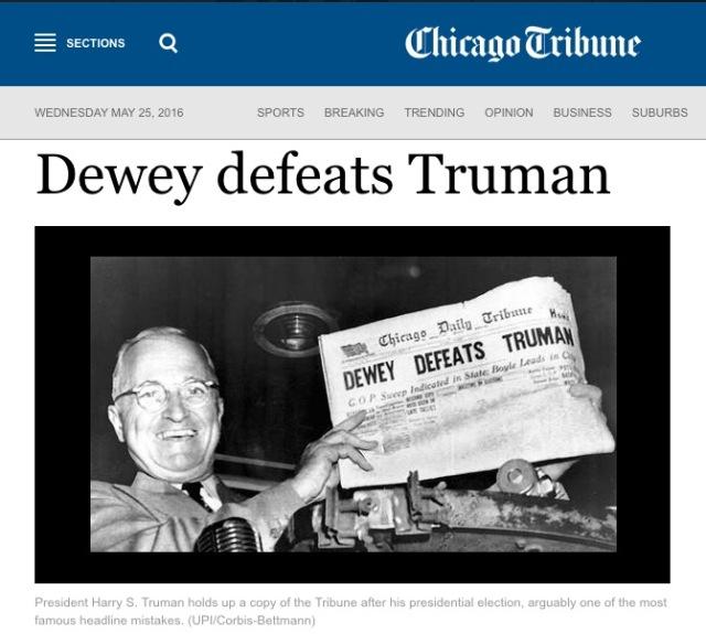 Dewey wins bad polling